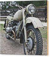 Vintage Military Motorcycle Wood Print