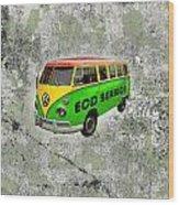 Vintage Minibus Wood Print