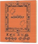Vintage Monopoly Game Patent Wood Print