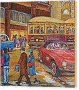 Vintage Montreal-st.catherine And Union-couples And Streetcars Wood Print