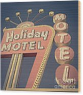 Vintage Motel Sign Holiday Motel Square Wood Print