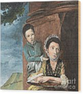Vintage Mother And Son Wood Print
