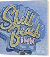 Vintage Neon- Shell Beach Inn Wood Print