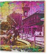 Vintage Neptune Fountain Kansas City Wood Print