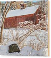Vintage New England Barn Portrait Square Wood Print