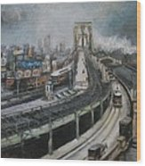Vintage New York City Brooklyn Bridge Wood Print