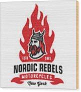 Vintage Nordic Rebels Motorcycles Wood Print