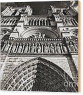 Vintage Notre Dame Wood Print by John Rizzuto