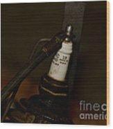 Vintage Number 18 Spark Plug Wood Print