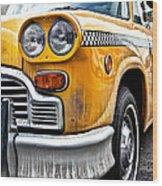 Vintage Nyc Taxi Wood Print by John Farnan