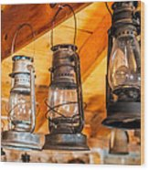 Vintage Oil Lanterns Wood Print by Paul Freidlund