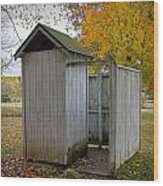 Vintage Outhouse Alongside A Historical Country School In Southwest Michigan Wood Print