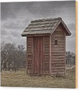 Vintage Outhouse Behind A Historical Country School In Southwest Michigan Wood Print