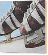 Vintage Pair Of Mens  Skates  Wood Print by Mikhail Olykaynen