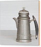 Vintage Pewter Coffee Pot Wood Print