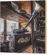 Vintage Phonograph Wood Print