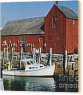 Fishing In Rockport Maine 1970's Wood Print