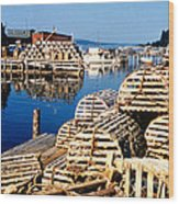 Lobster Traps In Maine Wood Print