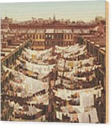 Vintage Photo Of Washing Day In New York City 1900 Wood Print
