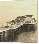 Vintage Pier At Dawn Wood Print