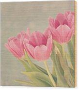 Vintage Pink Tulips Wood Print by Kim Hojnacki