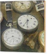 Vintage Pocket Watches Wood Print