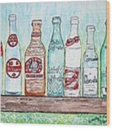 Vintage Pop Bottles Wood Print