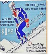 Vintage Poster - Sports - Skiing Wood Print