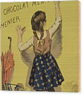Vintage Poster Advertising Chocolate Wood Print