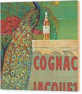 Vintage Poster Advertising Cognac Wood Print by Camille Bouchet