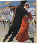 Vintage Poster Couples Skating At Christmas On Frozen Pond Wood Print