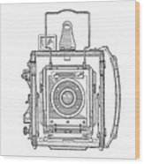Vintage Press Camera Patent Drawing Wood Print