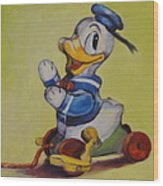 Vintage Pull Toy Series Duck Wood Print by Kelley Smith