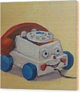 Vintage Pull Toy Series Phone Wood Print by Kelley Smith