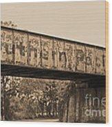 Vintage Railway Bridge In Sepia Wood Print