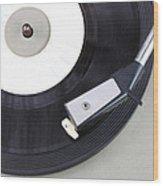 Vintage Record Player Close Up. Vintage Gramophone Wood Print