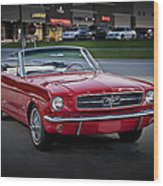 Vintage Red 1966 Ford Mustang V8 Convertible  E48 Wood Print