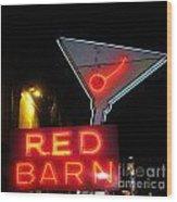 Vintage Red Barn Neon Sign Las Vegas Wood Print