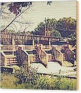 Vintage River Dam Wood Print