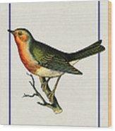 Vintage Robin Vertical Wood Print