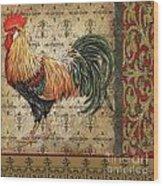 Vintage Rooster-d Wood Print