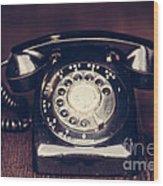 Vintage Rotary Phone Wood Print