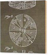 Vintage Roulette Wheel Patent Wood Print