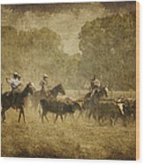 Vintage Roundup Wood Print