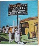 Vintage Route 66 Diner Sleeper Wood Print