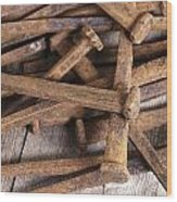 Vintage Rusty Square Nails Wood Print