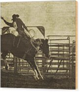 Vintage Saddle Bronc Riding Wood Print