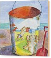 Vintage Sand Pail- 3 Pigs At The Beach Wood Print by Sheryl Heatherly Hawkins