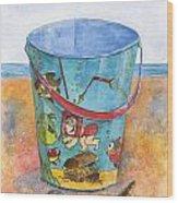 Vintage Sand Pail Sweet Pea Wood Print by Sheryl Heatherly Hawkins