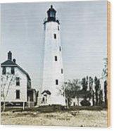 Vintage Sandy Hook Lighthouse Wood Print